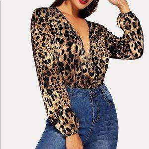 Sexy Deep V Leopard Bodysuit
